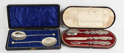 Lot 34 - A silver handled christening set and twin jame...