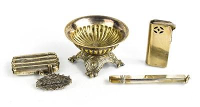 Lot 42 - A silver vesta case, brooch, pencil holder and...
