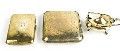 Lot 41 - Two silver cigarette cases, together with a salt.