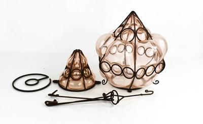 Lot 40 - A Vintage peach glass lantern