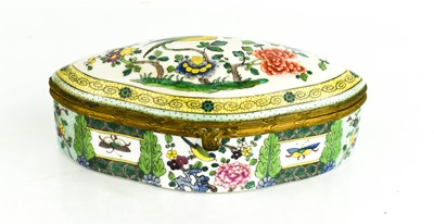 Lot 28 - A Victorian polychrome porcelain box, of oval...