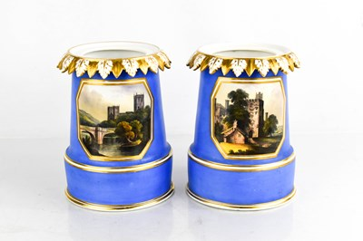 Lot 36 - A pair of early Crown Derby vases, painted...