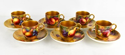 Lot 11 - A set of six Royal Worcester cups and saucers,...