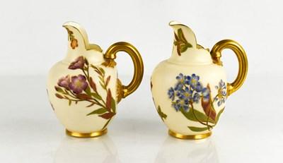 Lot 31 - Two Royal Worcester flat back jugs, blush...