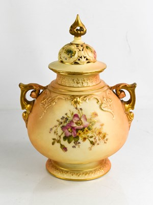 Lot 18 - A Royal Worcester blush ivory vase, and cover...