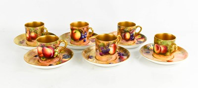 Lot 6 - A set of six Royal Worcester coffee cans and...