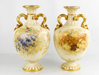Lot 41 - A pair of Royal Worcester porcelain vases,...
