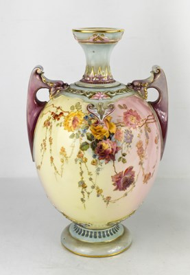 Lot 26 - A Royal Worcester vase, painted with flowers...