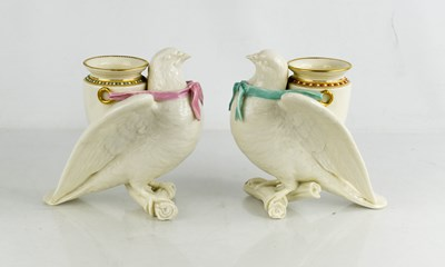 Lot 14 - A pair of Royal Worcester porcelain spill...