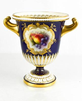 Lot 30 - A Royal Worcester campana pedestal vase,...