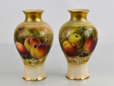 Lot 2 - A pair of Royal Worcester vases by Rickets,...