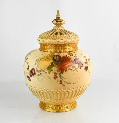 Lot 22 - A Royal Worcester pot pourri vase and cover,...