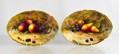 Lot 8 - A fine pair of Royal Worcester oval bowls, by...