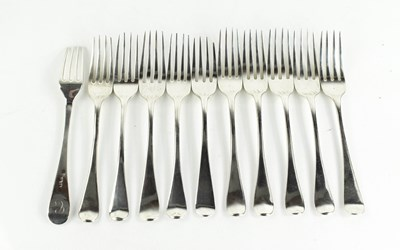 Lot 21 - A set of ten Georgian silver side forks, 12.5toz.