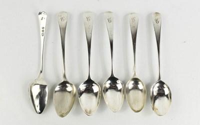 Lot 29 - A set of six silver Georgian teaspoons,...