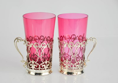 Lot 48 - A pair of silver and cranberry glass tea...