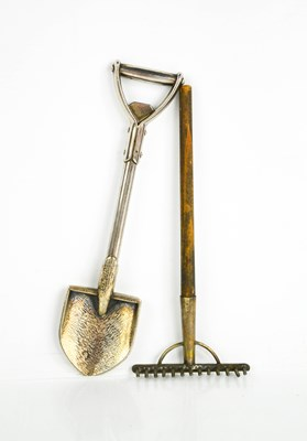 Lot 31 - A novelty spade and rake, the silver plated...