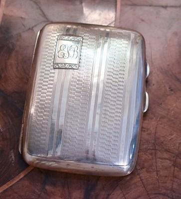 Lot 12 - A silver cigarette case, engraved Edith J...