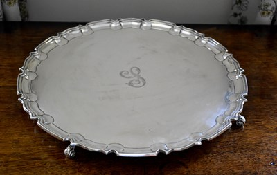 Lot 1 - A large silver salver, engraved with the...