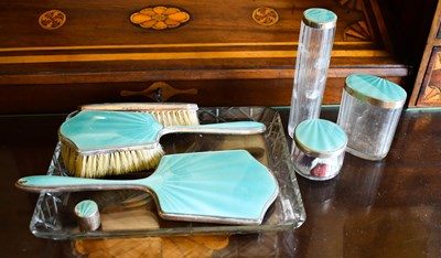 Lot 2 - An Art Deco silver and guilloche enamel...