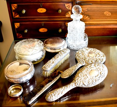 Lot 6 - A silver hairbrush and mirror set together...