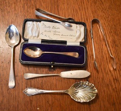 Lot 10 - A silver christening spoon in the original...
