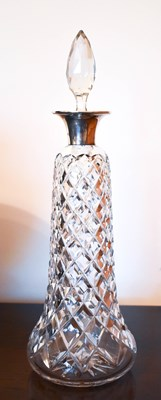 Lot 18 - A silver collared cut glass decanter of...